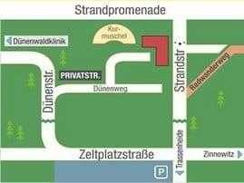 Parkplatz 10 auf dem Innenhof, Zufahrt von der Strandstr. möglich.  Ca. 60 Schritte zur Strandpromenade, im Erdgeschoß sind verschiedene Kioske mit Bäcker und Brötchenservice für unsere Gäste ab 08.00