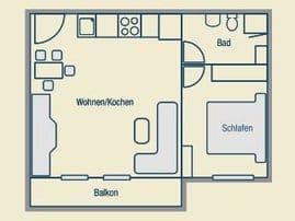 Grundriß der 40 m², ca. 5 x 8 Meter großen Ferienwohnung, plus Balkon 5 x 1,5 Meter (Südseite). Durch den Balkon über uns, kann man selbigen auch bei Regen nutzen. (Raucherecke).