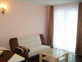 Wohnzimmer mit Schlafcouch und direkten Zugang zur Terrasse