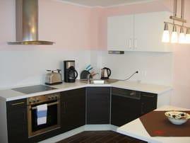 Einbauküche mit Geschirrspüler, Kühlschrank, Mikrowelle, Herd mit Backofen, Toaster, Wasserkocher und Kaffeemaschine