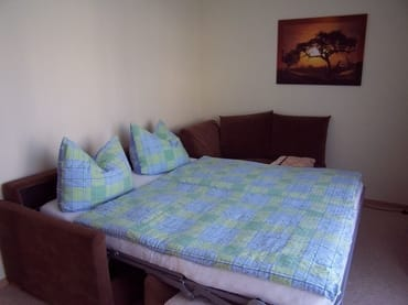 Couch umgewandelt als Schlafgelegenheit   160 x 200