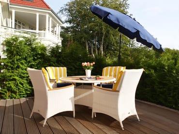 Vom Erker gelangen Sie auf Ihre Privatterrasse, die Ihnen dank ihrer Ausrichtung den ganzen Tag Sonnenschein Pur garantiert. Moderne Terrassenmöbel garantieren Erholung zu jeder Jahreszeit.