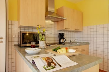 Offene, voll ausgestattete Küche im Wohnzimmer