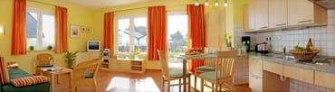 Wohnzimmer mit offener Küche und Blick in den Garten