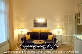 Das Appartement Nr. 1a ist für 4 Personen geeignet.  Es verfügt über einen Wohnbereich mit Küchenzeile....