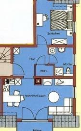 Grundriss: großes Wohnzimmer mit Balkon, separates Schlafzimmer mit 2 Fenstern, gr. Flur, großes Bad mit Fußbodenheizung und Fenstern