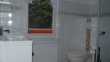 Badezimmer mit Dusche und WC.