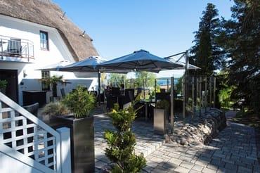 Frühstücksterrasse, Terrasse zum Sonnen und Relaxen, mit Blick auf den Selliner See