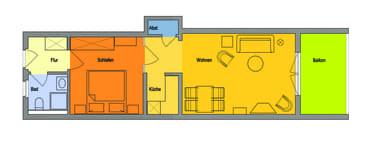 Wohnung mit offener Bauweise und großem Balkon