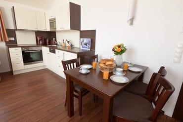 voll eingerichtete Küche mit 4-PlattenCeranHerd, Geschirrspüler, Mikrowelle und Backofen