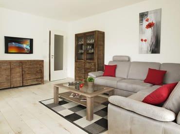 modernes Wohnzimmer mit Schlafcouch für 2 Personen