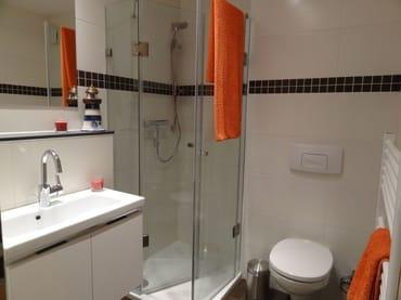 renoviertes Bad, Echtglasdusche mit niedrigem Einstieg, WC, Föhn und viel Ablagelagemöglichkeiten