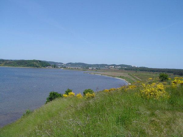 """Der """"Fliegerberg"""" mit Blick auf das Hinterland von Baabe und der Wander- bzw. Fahrradstrecke zum Strand von Baabe."""