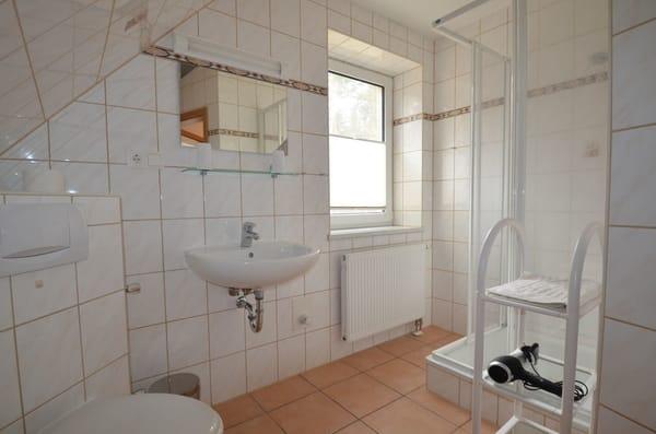 gr. Bad mit Fussbodenheizung  ,Fenster , Dusche und Fön und Blick ins Grünne