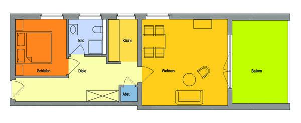 Gesamte Wohnung mit historischer Deckenhöhe, sehr großer Balkon