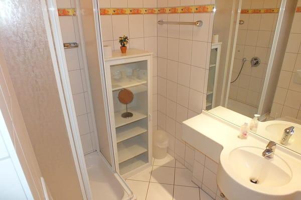 Badezimmer mit Duschbad, viele Ablagemöglichkeiten, großer Spiegel