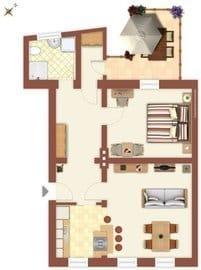 - Grundriss des Appartements -  Ihnen steht ein kostenfreier Parkplatz, nur ca. 50 Meter von der Villa Monico entfernt, während Ihres Urlaubes zur Verfügung.