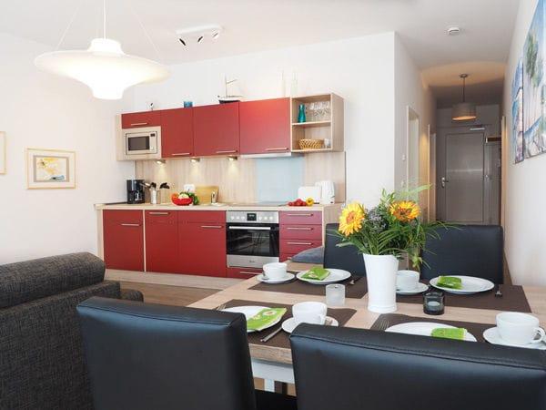 im Wohnraum integrierte Küchenzeile