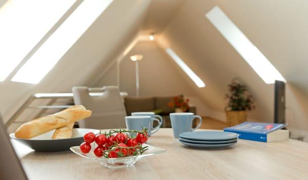 offener Wohn- und Schlafbereich im Dachgeschoss