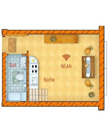 Grundriss Obergeschoss mit Küche und Bad (Dusche /WC)