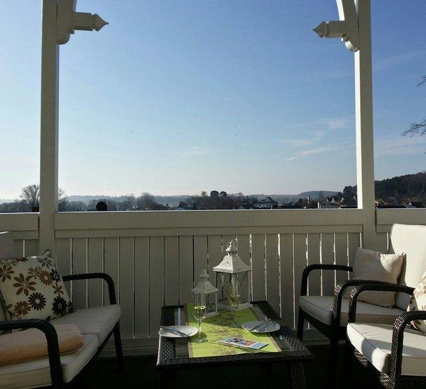 Balkon mit weiter Sicht Richtung Selliner See