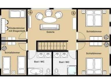 Obergeschoss mit 4 Schlafzimmern, Gaerie und 2 Bädern