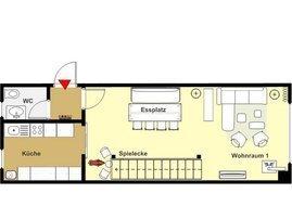Erdgeschossgrundriss Küche, Gäste-WC und Wohnraum