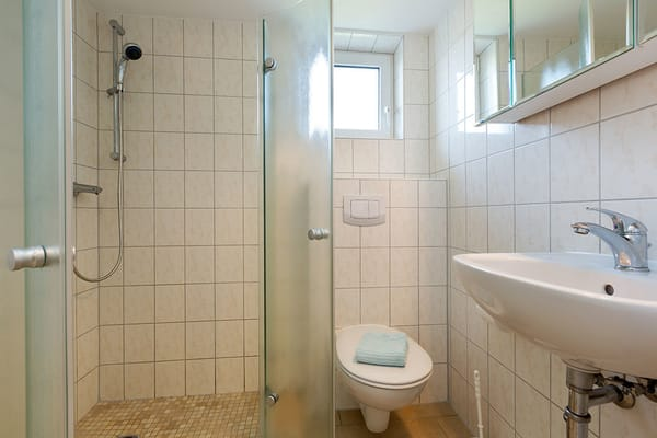 ... Dusche und WC.