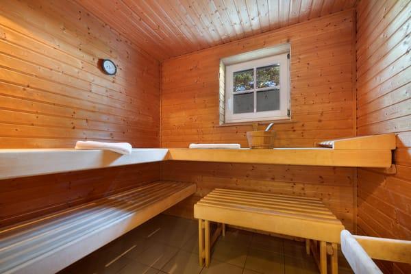 Im Erdgeschoß der Villa Quisisana steht für die Hausgäste eine Sauna ...