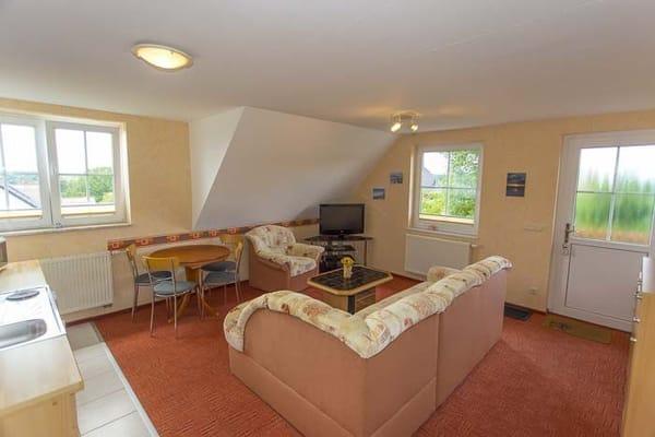 Wohnbereich mit Schlafcouch und Küchenzeile