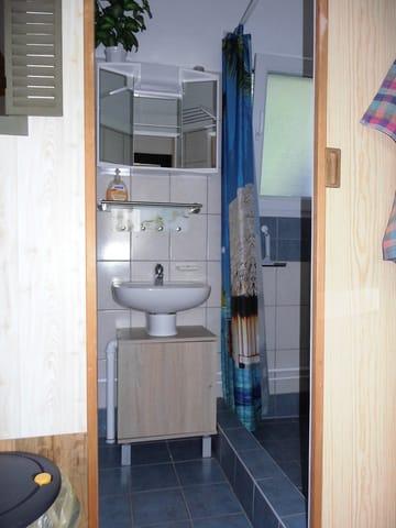 Blick zum Duschbereich