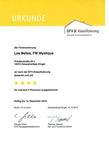 Urkunde DTV-Klassifizierung