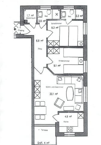 Raumaufteilung Wohnung 8 mit Balkon