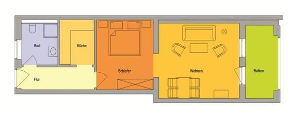 GRUNDRISS: Großzügig und offen geschnittene Wohnung