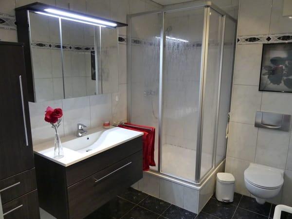 Duschbad mit Dusche (100x100), Toilette, Handtuchhalter, 3D Spiegel, Waschbecken, Schrank für mitgebrachte Gegenstände, Fön, Schminkspiegel, Hocker mit Schmutzwäschebehälter, Personenwaage