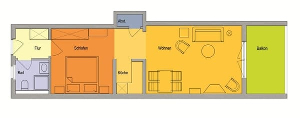 Wohnung mit offener Bauweise, großem Balkon