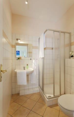 Das Badezimmer ist mit Dusche, WC und einem Haartrocknerausgestattet