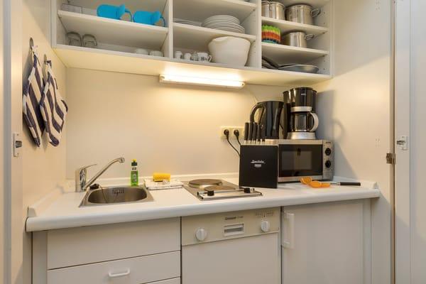 Hier der Blick in die Schrankküche mit Geschirrspüler, Mikrowelle etc.