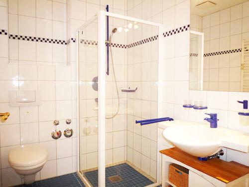 Hier der Blick in das Bad mit Dusche, WC und Waschbecken.