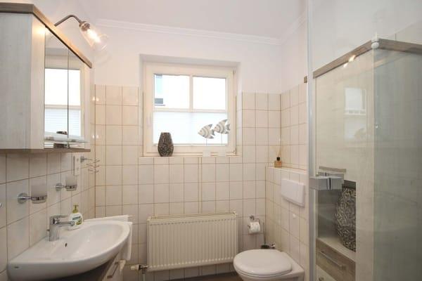 Tageslichtbad mit Dusche, Waschtisch, WC und Fön