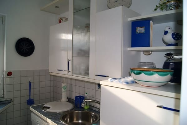 Auch einen Herd mit Backröhre gibt es in der Küche.