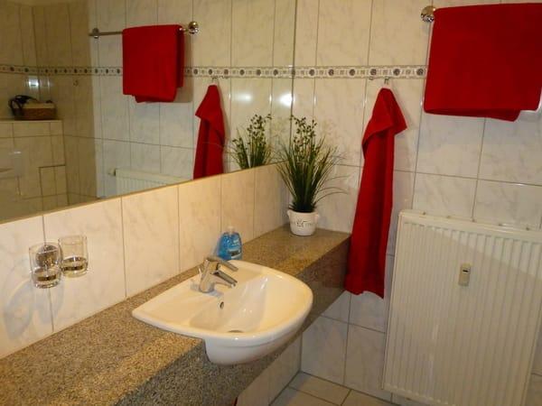 großer Spiegel im funktionalen Bad mit Dusche und WC