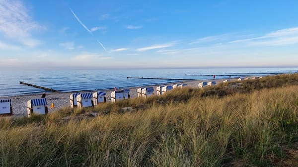 Strandkörbe vorm Haus Meeresblick