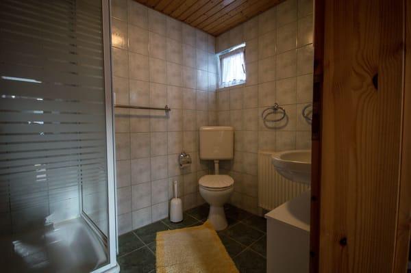 Blick ins Bad (mit Dusche und WC)