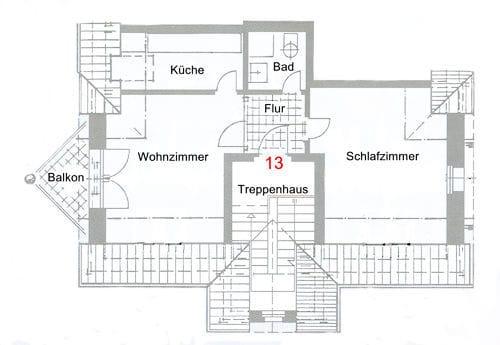"""Grundriß Fewo """"Topplicht"""". Ein Parkplatz am Haus ist kostenfrei vorhanden."""