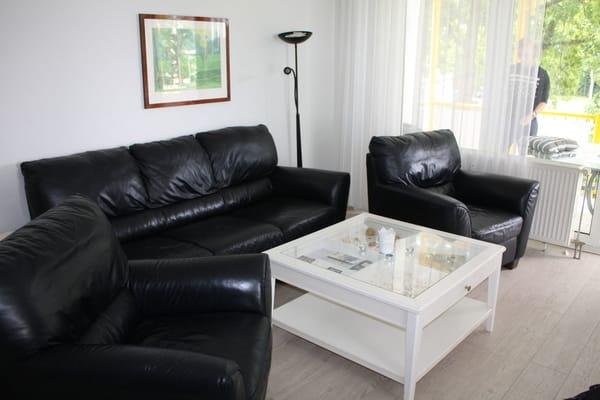 Helles Wohnzimmer durch große Fensterfront. Laminatfussboden und gemütliche Ledercouch schaffen Bequemlichkeit.