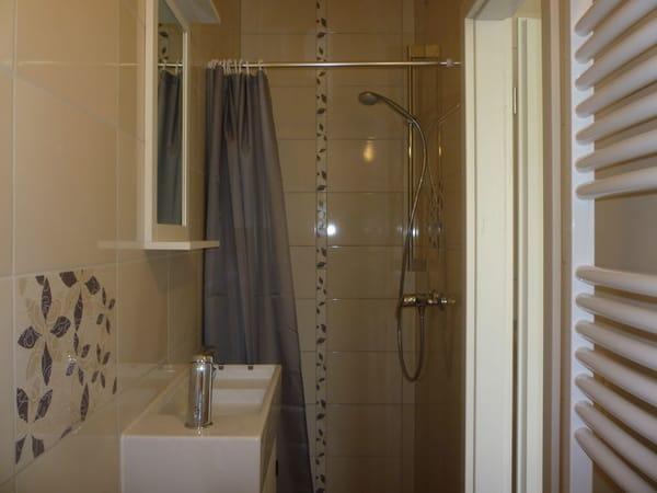 kleines Badezimmer mit ebenerdiger Dusche