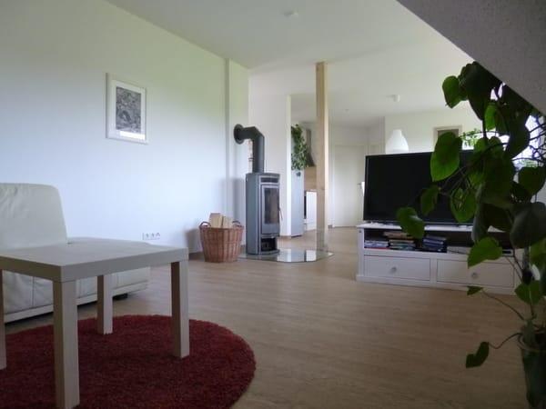 Wohnzimmer mit Kamin und Flachbild TV