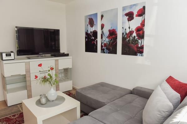 Wohnbereich mit Couch und Flachbild-TV