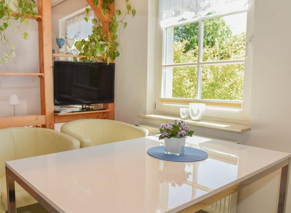 kombinierter Wohn- und Schlafbereich (mit Essplatz, Raumteiler mit Flachbild-TV und Doppelbett)